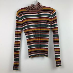 Twik for Simons Striped Ribbed Knit Turtleneck in Multi